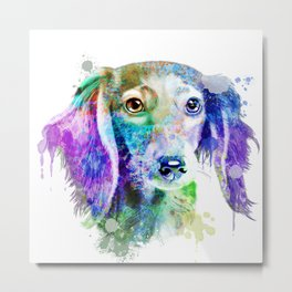 Dachshund watercolor, Watercolor Dachshund, Watercolor dog, Dachshund portrait Metal Print