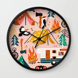 Camping Kit – Blush Palette Wall Clock