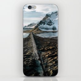 Icelandic black sand beach and mountain road - landscape photography iPhone Skin