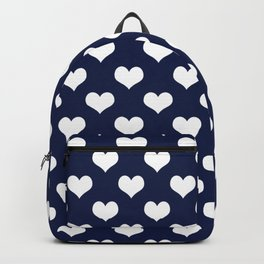 Navy Blue Love Hearts Minimal Backpack