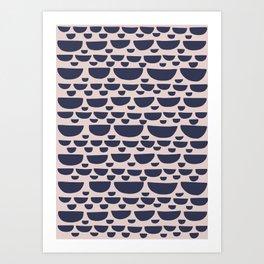 Half moon horizontal geometric print - Navy Art Print