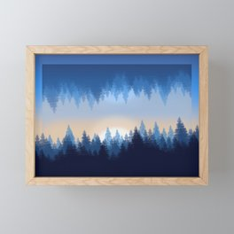 Winter Pines Reflected Framed Mini Art Print