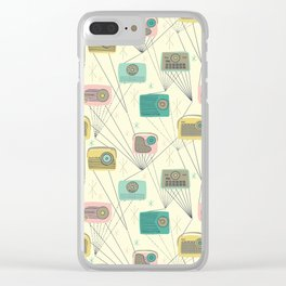 Mid-century Modern Transistor Radios and Atomic Stars / Cream Clear iPhone Case