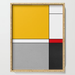 Mid century Modern yellow gray black red Serving Tray