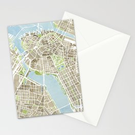Boston Sepia Watercolor Map Stationery Cards