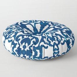 Portuguese inspired tile art in blue hues Floor Pillow