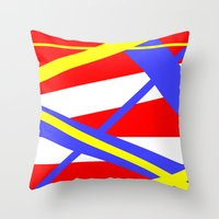 bands Throw Pillows featuring Bands 2 retro stripes by Brian Raggatt