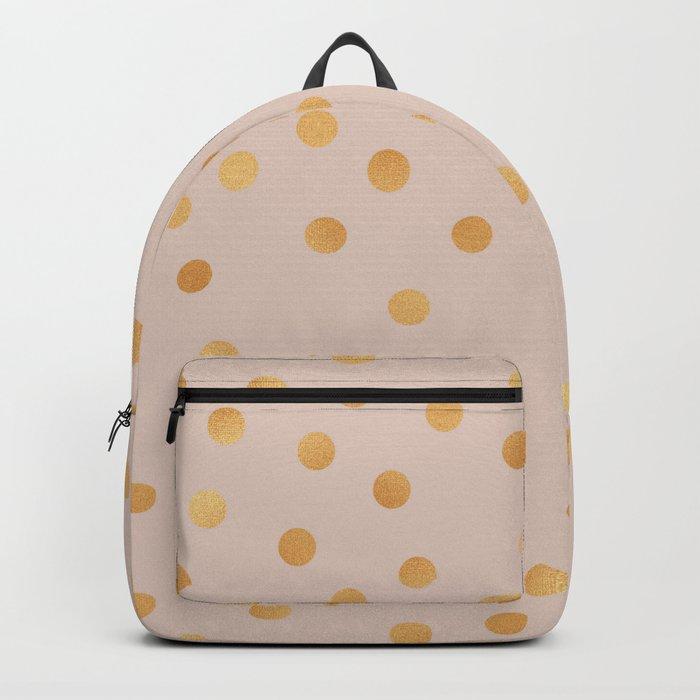 Rose gold polka dots - caramel sand Backpack