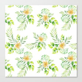 Watercolor yellow green hand painted camellia pattern Canvas Print