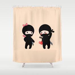 Tiny Ninja Boy and Girl Shower Curtain