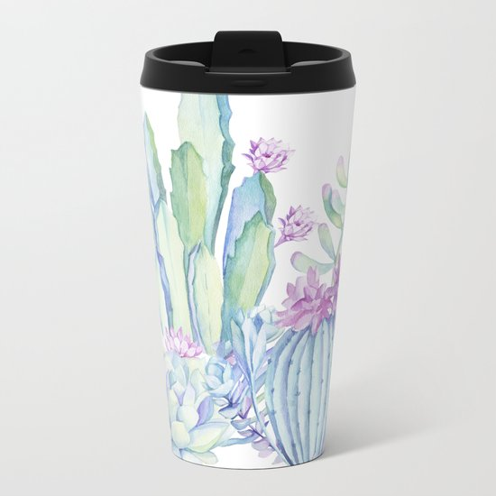 Mixed Cacti White #society6 #buyart Metal Travel Mug