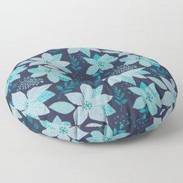 Serene Poinsettia Aqua on Navy Floor Pillow