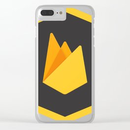 firebase Logo yellow dark grey no sql database developer Clear iPhone Case