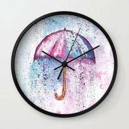 Umbrella Watercolor Painting Wall Clock