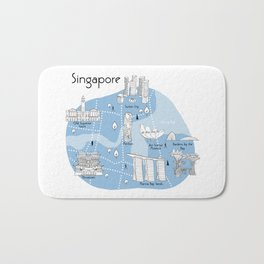 Mapping Singapore - Blue Bath Mat