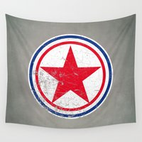 korea Wall Tapestries featuring North Korea cocarde by Nxolab