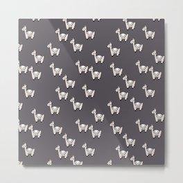 Cute little baby Llama alpaca illustration pattern neutral nursery gray Metal Print