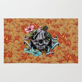 The Skull the Flowers and the Snail CoLoR Rug