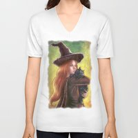 witch V-neck T-shirts featuring Witch by Miguel Angel Carroza