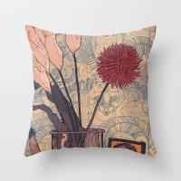 bukowski Throw Pillows featuring its bukowski by TYLER WINTERMUTE