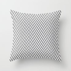 Grey Herringbone Throw Pillow