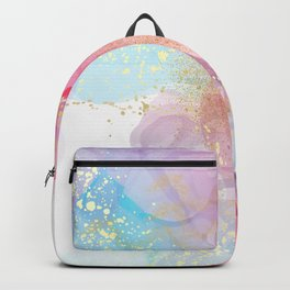 Blue Purple Pink Gradient Alcohol Ink Pouring with Gold Backpack