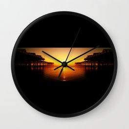 Pier Mirrored Sunset Wall Clock