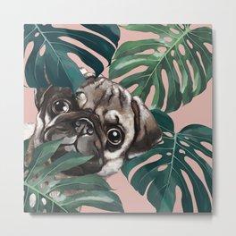 Pug with Monstera Leaf Metal Print