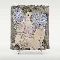 fat Shower Curtains featuring fat babe by Laura Wilson