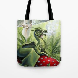 Smoking Dragon in Cannabis Leaves Tote Bag
