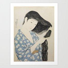 Woman in Blue Combing Her Hair - Hashiguchi Goyo Art Print