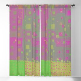 City Grid in Orchid-Lime Blackout Curtain