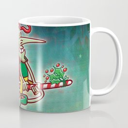 Halloween witch flying on a Christmas candy cane Coffee Mug