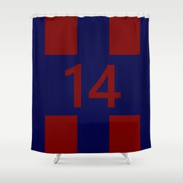 Legendary No. 14 in red and blue Shower Curtain