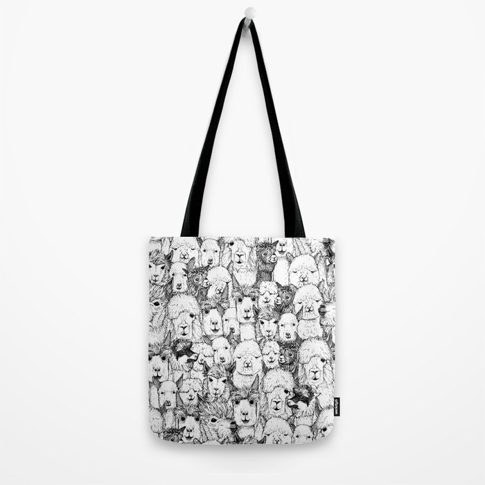 just alpacas black white Tote Bag