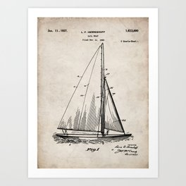 Sailboat Patent - Yacht Art - Antique Art Print
