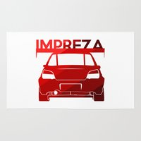 subaru Area & Throw Rugs featuring Subaru Impreza - classic red - by Vehicle