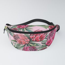 Protea Water color on pale pink Fanny Pack