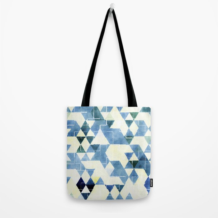 Abstract Blue Triangles, Watercolor Pattern Tote Bag