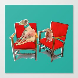 animals in chairs #14 The Greyhound and the Hare Canvas Print