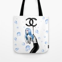 black and gold Tote Bags featuring BLACK GOLD by TOXIC RETRO