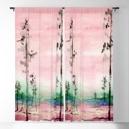 Pink and Green Watercolor Landscape Blackout Curtain