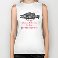monster hunter Biker Tanks featuring InsanitynArt's Special Barramundi Illustration Monster Hunter. by Insanity n Art. _ Nelson Philips