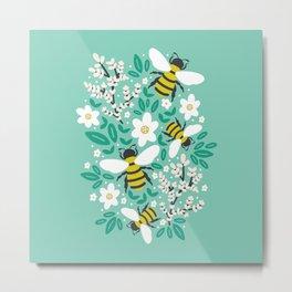 Blooms & Bees Metal Print