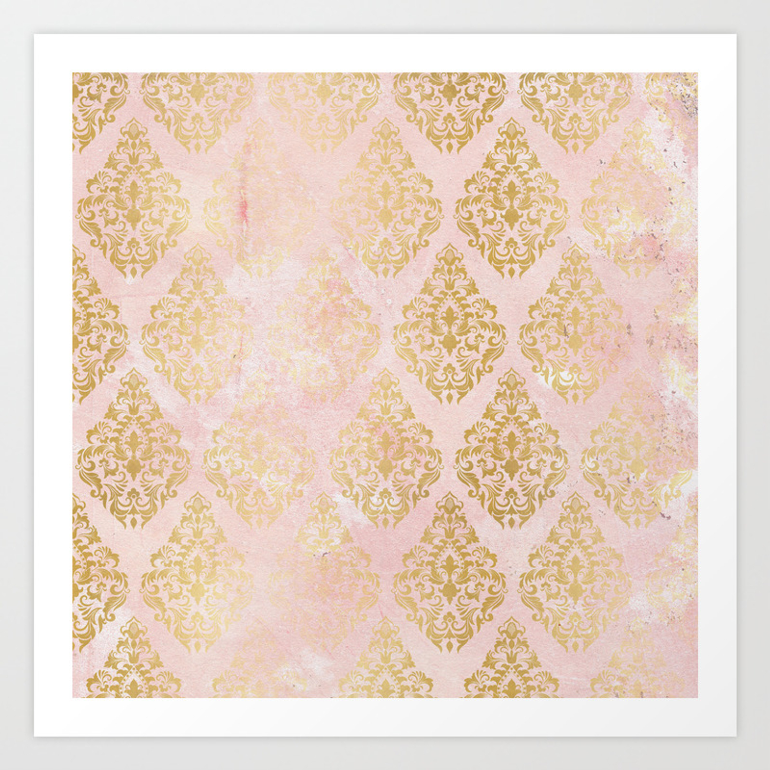 Floral Gold Leaf Diamond Arabesque On Pink Art Print By