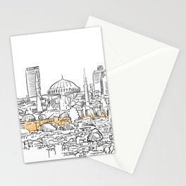 Modern and old Istanbul panorama drawing Stationery Cards