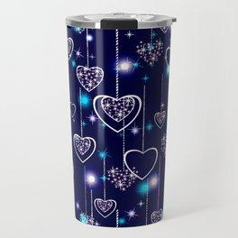 Openwork hearts on bright blue background. Travel Mug