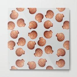 Grey Big Clam pattern Illustration design Metal Print
