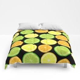 Citrus Slices on Black Comforters