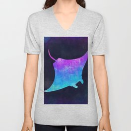 MANTA RAY IN SPACE // Animal Graphic Art // Watercolor Canvas Painting // Modern Minimal Cute Unisex V-Neck
